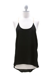 Open Back Chain Tank Top-Black