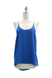 Open Back Chain Tank Top-Blue