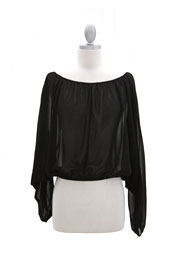 Long Sleeve Chiffon Elastic Off the Shoulder Top-Black