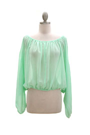 Long Sleeve Chiffon Elastic Off the Shoulder Top-Mint Green