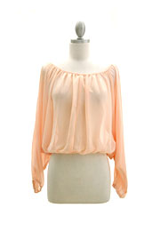 Long Sleeve Chiffon Elastic Off the Shoulder Top-Peach