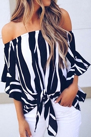 Knotted Off the Shoulder Contrast Top-Black & White