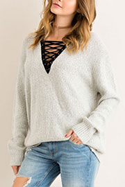 Long Sleeve Contrast Lace Up Sweater Top-Grey