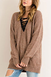 Long Sleeve Contrast Lace Up Sweater Top-Mocha Brown