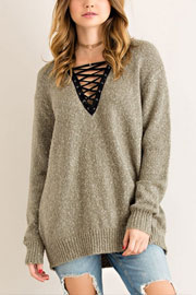 Long Sleeve Contrast Lace Up Sweater Top-Olive Green