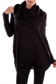 Long Sleeve Ribbed Knit Cowl Turtleneck Sweater Top-Black