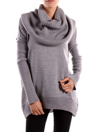 Long Sleeve Ribbed Knit Cowl Turtleneck Sweater Top-Grey