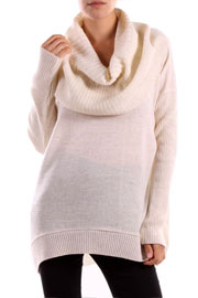 Long Sleeve Ribbed Knit Cowl Turtleneck Sweater Top-Ivory
