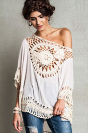 Boho 3/4 Sleeve Circle Crochet Tunic Top-Off White Ivory