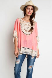 Boho 3/4 Sleeve Circle Crochet Tunic Top-Pink