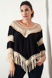 Plus Size Fringe Boho V-Neck 3/4 Sleeve Crochet Tunic Top-Black