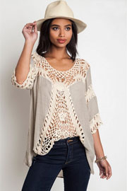 Bohemian Round Neck 3/4 Sleeve Crochet Front Tunic Top-Taupe