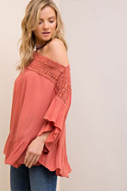 Flowy Off the Shoulder Top with Crochet Neckline-Rust