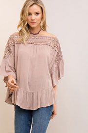 Flowy Off the Shoulder Top with Crochet Neckline-Taupe
