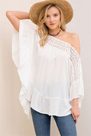 Flowy Off the Shoulder Top with Crochet Neckline-White
