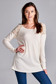 Long Sleeve Boat Neck Crochet Shoulder Thermal Top-Off White