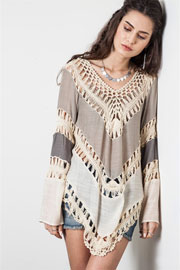 Ombre Multicolor Boho V-Neck Long Sleeve Crochet Tunic Top-Taupe Beige