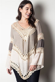 PLUS SIZE Ombre Multicolor Boho V-Neck Long Sleeve Crochet Tunic Top-Taupe Beige