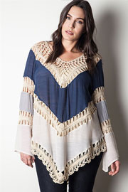 PLUS SIZE Ombre Multicolor Boho V-Neck Long Sleeve Crochet Tunic Top-Navy Blue