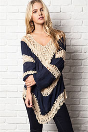 Boho V-Neck Long Sleeve Crochet Tunic Top-Navy Blue