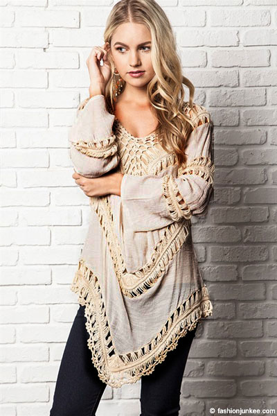 Boho Tunic Tops Tunic Top-off White Ivory