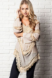 Boho V-Neck Long Sleeve Crochet Tunic Top-Off White Ivory