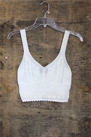 Boho V-Neck Cropped Knit Crochet Tank Top Bralette-Off White