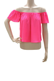 Cropped Short Sleeve Elastic Off the Shoulder Peasant Top-Hot Pink