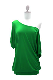 Loose Cuff Banded Off the Shoulder Jersey Top-Green