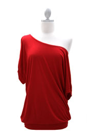 Loose Cuff Banded Off the Shoulder Jersey Top-Red