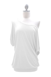 Loose Cuff Banded Off the Shoulder Jersey Top-White