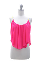 Boho Cropped Flowy Chiffon Daisy Unbalanced Tank Top-Hot Pink