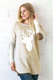 Long Sleeve French Terry Elbow Patch Deer Head Top-Beige