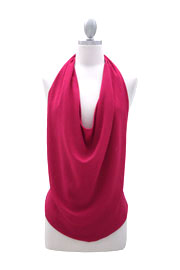 Low Cut Draped Open Back Backless Halter Tank Top-Fuschia Pink