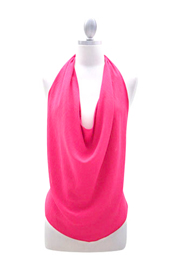 Low Cut Draped Open Back Backless Halter Tank Top-Hot Pink
