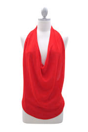 Low Cut Draped Open Back Backless Halter Tank Top-Red
