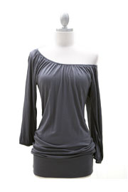Elastic Rouched Jersey 3/4 Sleeve Off the Shoulder Top-Grey