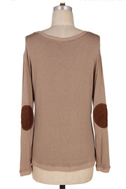 Long Sleeve Knit Sweater Top with Suede Elbow Patch-Taupe