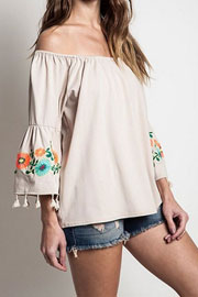 :As Seen In STYLEWATCH Magazine: Off the Shoulder Floral Embroidered Tassel Bell Sleeve Top-Beige