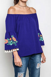 :As Seen In STYLEWATCH Magazine: Off the Shoulder Floral Embroidered Tassel Bell Sleeve Top-Blue