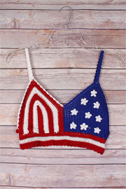 American Flag Boho Cropped Knit Crochet Festival Tank Top Bralette-Red, White & Blue