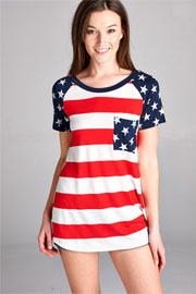 FLASH SALE: Red, White & Blue Stars and Stripes American Flag Top-Red (LIMITED TIME 50% OFF!)