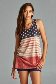 FLASH SALE: Red, White & Blue Vintage American Flag Racer Back Tank Top-Red