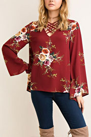 Floral Criss Cross Strappy Bell Sleeve Top-Burgundy Dark Red