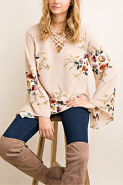 Floral Criss Cross Strappy Bell Sleeve Top-Taupe