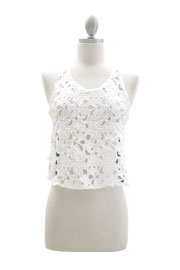 Floral Lace Tank Top With Acid Wash Denim Racer Back-White