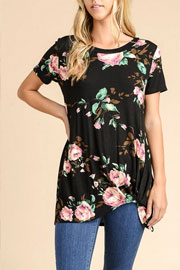 Knotted Floral Jersey Top-Black