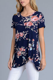 Knotted Floral Jersey Top-Navy Blue