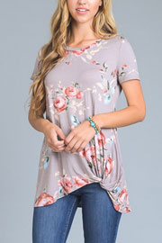 Knotted Floral Jersey Top-Taupe