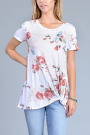 Knotted Floral Jersey Top-White